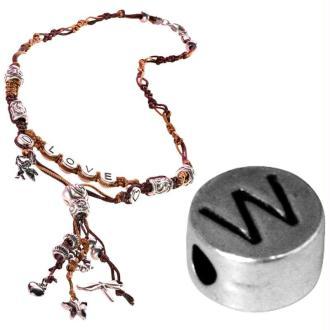 Perle alphabet W en métal