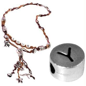 Perle alphabet Y en métal
