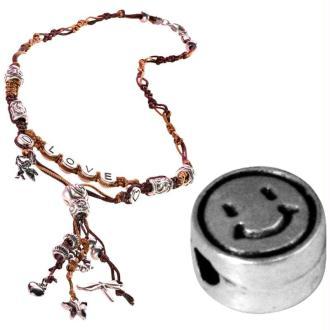 Perle alphabet Smiley en métal