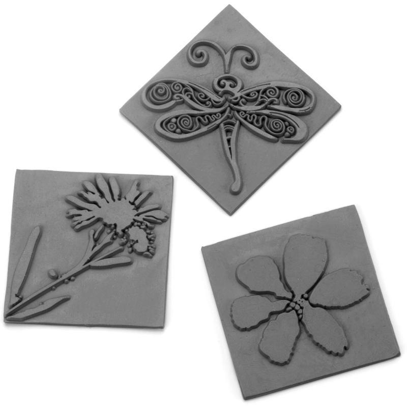 Plaque décorative pour savon impression Fleurs - 3 plaques - Photo n°1