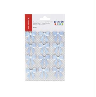 12 Noeuds bleus en papier perle blanche - 3 x 3,5 cm - 11060421