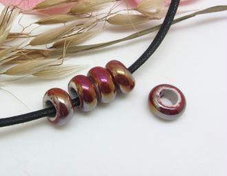 Lot de 2 Perles Rondelles Céramique Irisée Bordeaux  - 13*6 mm