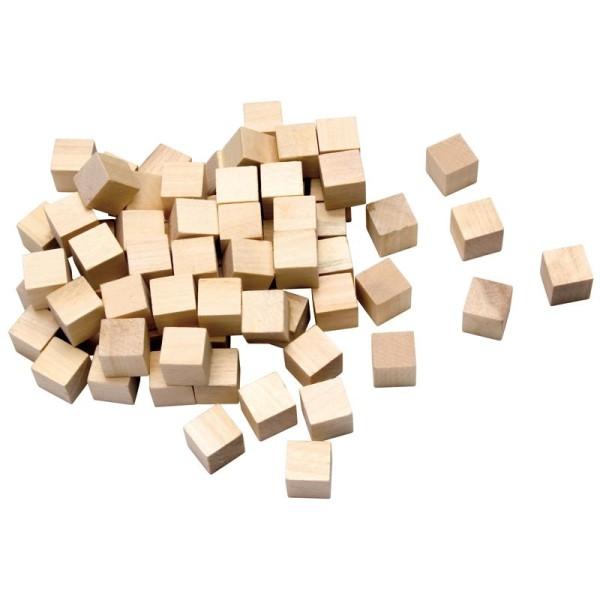 Cubes en bois à personnaliser 15mm- 72 pièces - Photo n°1
