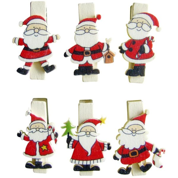 Pince à linge magnétique 3,5 cm Père Noël x 6 - Photo n°1