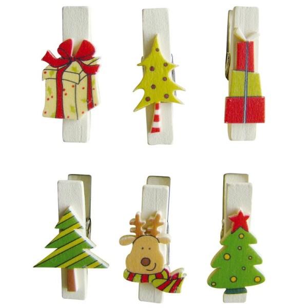 Pince à linge magnétique 3,5 cm Cadeaux de Noël x 6 - Photo n°1