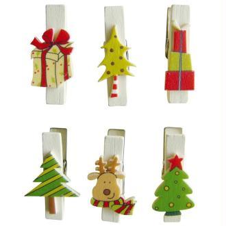 Pince à linge magnétique 3,5 cm Cadeaux de Noël x 6