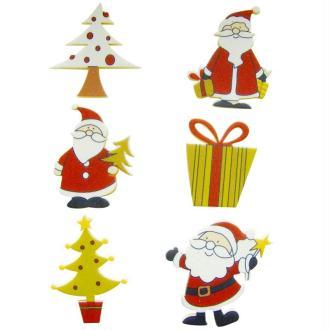 Pères Noël et sapins adhésifs en bois peint 4 cm x 6