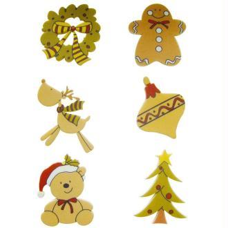Ornements de Noël adhésifs en bois peint 3,5 cm x 6