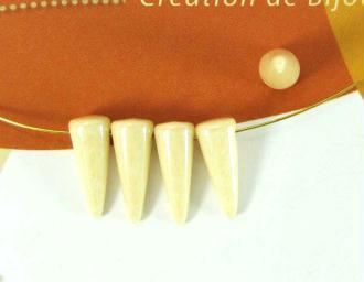 10 Perles Tchèques Spikes Crème - 5*13 mm