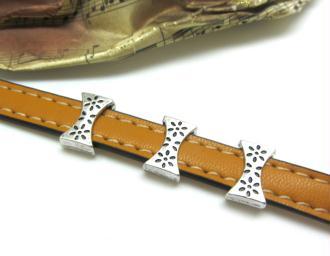 10 Perles Passantes Plates Style Noeud Décoré Vieil Argent - 14*9 mm