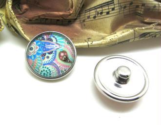 1 Bouton Pression Verre Artisanal Paisley Multicolore 8 - 18 mm