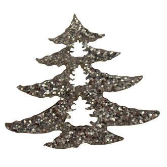 Sapin argent métal pailleté 2,5 cm - Lot de 12