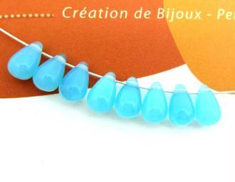 10 Gouttes Bohême Bleu Ciel Opale -9 par 6 mm