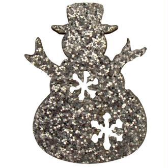 Bonhomme de neige argent métal pailleté 3 cm - Lot de 12