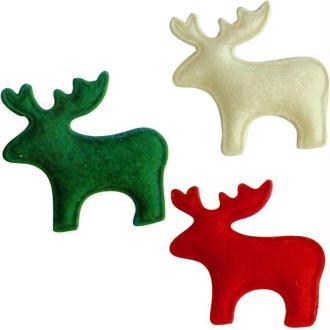 Rennes de Noël en feutrine rouge, vert et blanc 3 cm - Lot de 12