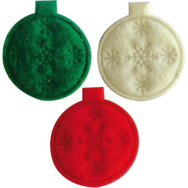 Boules de Noël en feutrine rouge, vert et blanc 3,5 cm - Lot de 12 - Photo n°1