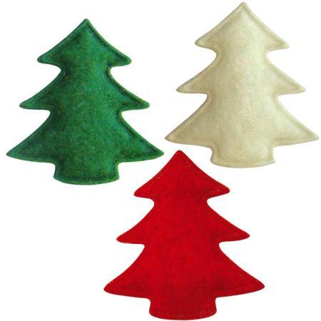 Sapins de Noël en feutrine rouge, vert et blanc 3 cm - Lot de 12 - Photo n°1
