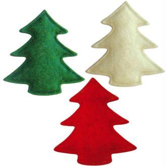 Sapins de Noël en feutrine rouge, vert et blanc 3 cm - Lot de 12