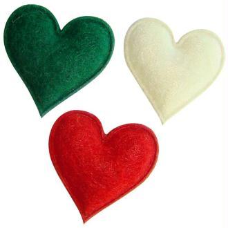 Coeurs en feutrine rouge, vert et blanc 2,5 cm - Lot de 12