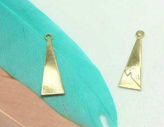 Lot de 2 Breloques Long Triangle Doré Métal - 17*5 mm