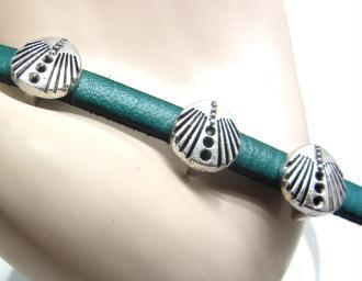 10 Perles Passantes Coquille St Jacques Métal Vieil Argent- 10*9 mm