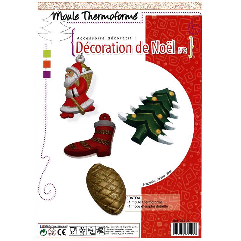 Moule thermoform d co de no l p re no l x 4 moule creavea for Decoration noel a fabriquer pour exterieur
