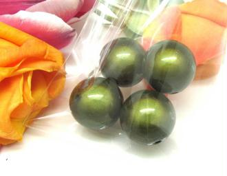 Lot de 2 Perles magiques Rondes Olivine - 18 mm