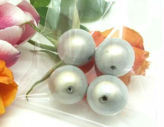Lot de 2 Perles magiques Rondes Gris Clair - 18 mm