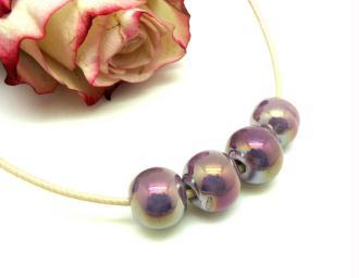 Lot de 2 Perles Céramique Irisée Mauve - Environ 10 mm