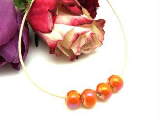 Lot de 2 Perles Céramique Irisée Orange - Environ 10 mm
