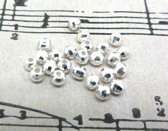 Lot  20 Perles Métal Rondes Métal Facettées Argenté - 2.8 mm