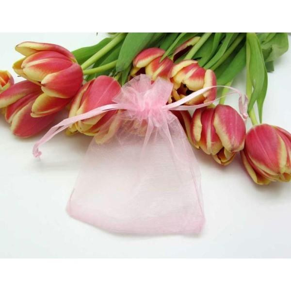 Lot  5 pochettes Cadeau Organza - Rose - 12 *10 cm - Photo n°1