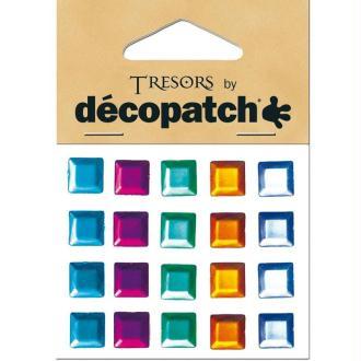 Cabochons Carrés multicolores x20