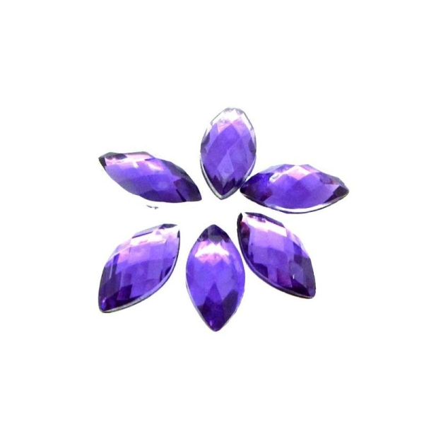 Lot de 20 Cabochons Navettes Synthétiques Facettées Violet -10*5 mm - Photo n°1