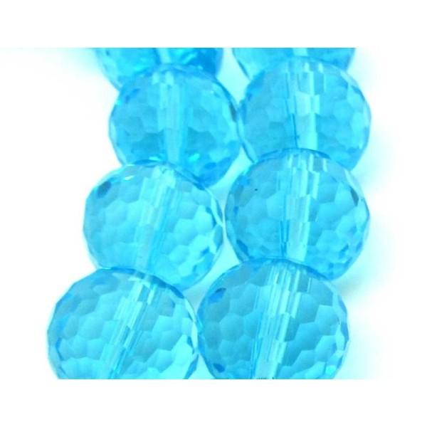 Lot de 20 perles à FACETTES 8mm en Cristal de Bohème Aquamarine