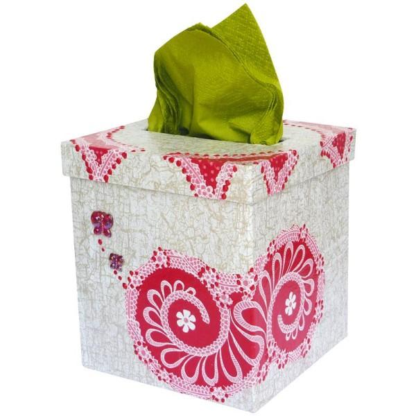 Boîte à mouchoirs carrée en papier mâché - Photo n°2