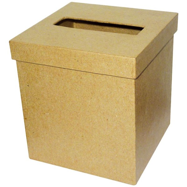 Boîte à mouchoirs carrée en papier mâché - Photo n°1