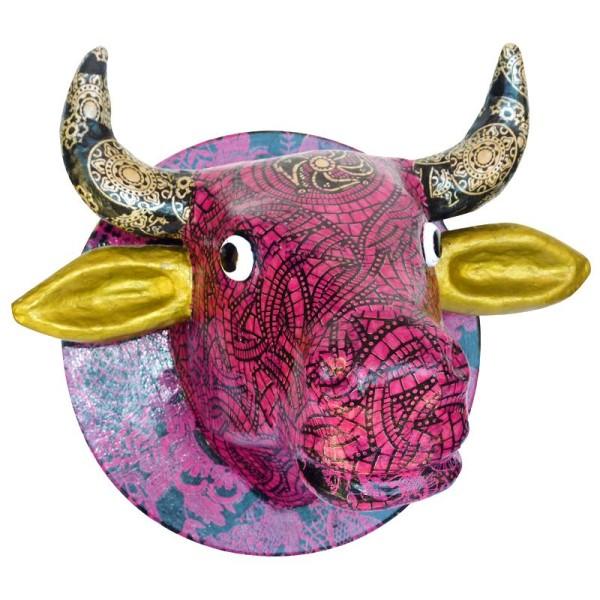 Tête de vache en papier mâché 24 cm à suspendre - Photo n°2