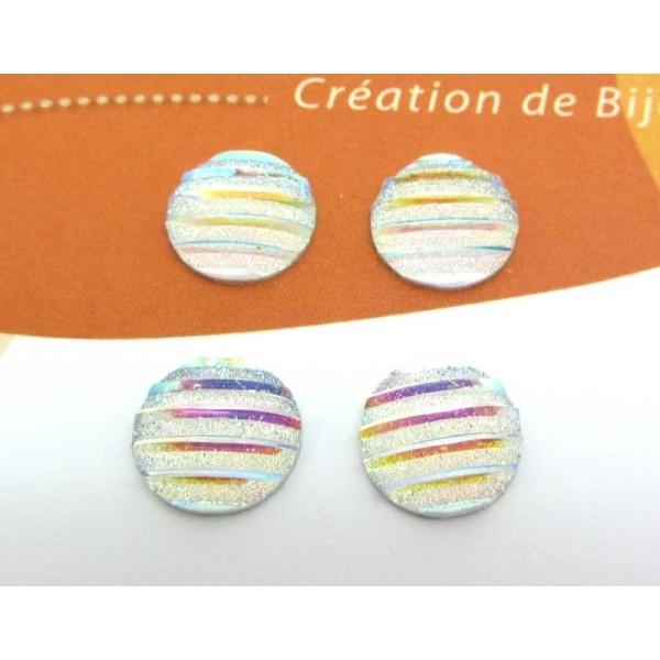 Lot de 6 Cabochons 10 mm Ronds Résine Shine Pailletés Crystal AB Strié - 10 mm - Photo n°1