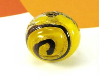 1 Perle en verre de Murano  Ronde Spirale Jaune - 12 mm