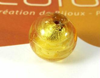 1 Perle en verre de Murano  Ronde Ambre - 14 mm
