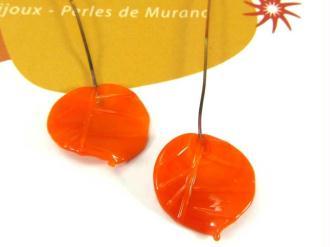 Lot de 2 perles Feuilles Murano Orange - 20 par 18 mm