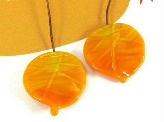 Lot de 2 perles Feuilles Murano Jaune Orangé - 20 par 18 mm