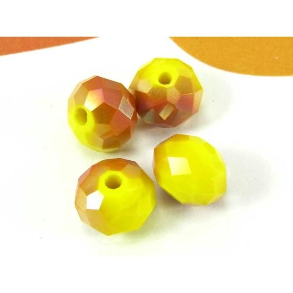 Lot de 10 Perles Donut Verre Jaune et Caramel  Irisé- 8 par - Photo n°1