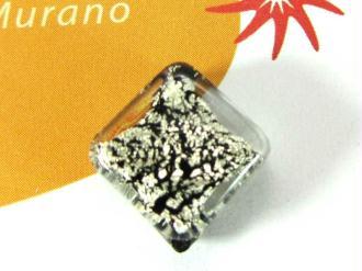 1 Perle de Murano - Petit Losange  Noir rotto - 14 mm