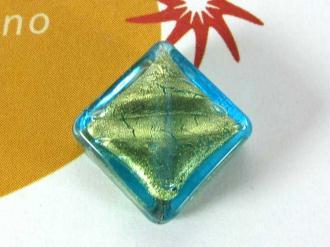 1 Perle de Murano - Petit Losange  Turquoise - 14 mm