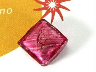 1 Perle de Murano - Petit Losange  Rose - 14 mm