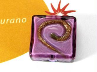 1 Perle de Murano - Carré Spirale Mauve 17 mm
