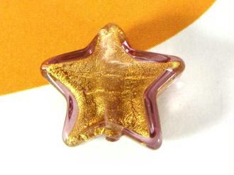 1 Perle de Murano Petite Etoile Marron clair - 12 mm