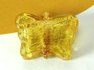 1 Perle de Murano Petit Papillon Ambre - 17 par 12 mm